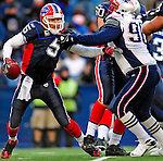 28 December 2008: Buffalo Bills' quarterback Trent Edwards is grabbed by New England Patriots' defensive lineman Le Kevin Smith at Ralph Wilson Stadium in Orchard Park, NY. The Patriots kept their playoff hopes alive defeating the Bills 13-0 in their 16th win against Buffalo of their past 17 meetings. ***** Editorial Use Only ******..Mandatory Photo Credit: Ed Wolfstein Photo