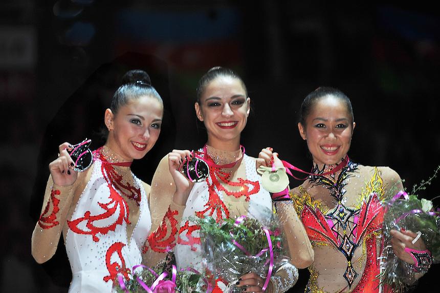 September 23, 2011; Montpellier, France;  All-Around winners are (L-R) DARIA KONDAKOVA, EVGENIYA KANAEVA of Russia and ALIYA GARAEVA of Azerbaijan at 2011 World Championships.