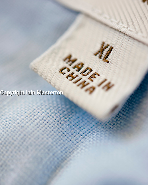 detail of clothes label showing garment was made in china With get labels made