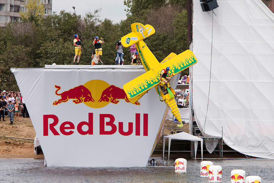 Moscow Russia, 07/08/2011..A homemade aircraft is launched at Red Bull Flugtag, when some 100,000 people gathered to watch a variety of makeshift aircraft launched over and into the Moscow river.