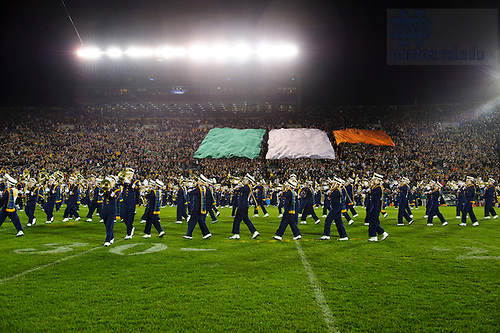 Sept. 22, 2012; Students unfurl the colors of the flag of Ireland to show their appreciation for their hospitality during the Emerald Isle Classic events, at halftime against Michigan at Notre Dame Stadium.  Photo by Barbara Johnston/University of Notre Dame