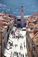 Stock photos of Placa (Stradum) - Main street in Dubrovnik looking towards the Bell tower - Croatia