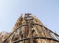Iron gate of the temple, Nativity façade, La Sagrada Familia, Roman Catholic basilica, Barcelona, Catalonia, Spain, built by Antoni Gaudí (Reus 1852 ? Barcelona 1926) from 1883 to his death. Still incomplete. Picture by Manuel Cohen