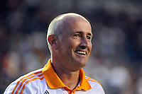 Houston Dynamo head coach Dominic Kinnear. The Philadelphia Union and the Houston Dynamo played to a 1-1 tie during a Major League Soccer (MLS) match at PPL Park in Chester, PA, on August 6, 2011.