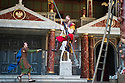London, UK. 03.09.2014. THE COMEDY OF ERRORS, by William Shakespeare, opens at Shakespeare's Globe, directed by Blanche McIntyre. Picture shows: Simon Harrison (Antipholus of Syracuse) and Jamie Wilkes (Dromio of Ephesus). Photograph © Jane Hobson.