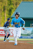 Myrtle Beach Pelicans infielder Carlos Sepulveda (11) running the bases during a game against the Wilmington Blue Rocks at Ticketreturn Field at Pelicans Ballpark on April 26, 2017 in Myrtle Beach, South Carolina. Myrtle Beach defeated Wilmington 7-3. (Robert Gurganus/Four Seam Images)