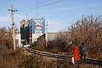 """Photo by Heathcliff Omalley..Nizhny Tagil 9 November 2007.A pro Putin """"United Russia Party """" poster emblazoned on  a factory wall in the Industrial town of Nizhny Tagil 150km from Yekaterinburg in the Urals, an area rich minerals, which has one of the highest rates of pollution the country."""
