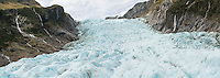 Middle parts of Fox Glacier, Westland Tai Poutini National Park, West Coast, South Westland, UNESCO World Heritage Area, New Zealand, NZ