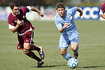 13 November 2011: North Carolina's Enzo Martinez (16) is chased by Boston College's Colin Murphy (NZL) (21). The University of North Carolina Tar Heels defeated the Boston College Eagles 3-1 at WakeMed Stadium in Cary, North Carolina in the Atlantic Coast Conference Men's Soccer Tournament championship game.