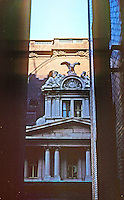 """St. Louis: Old Post Office. Taken from fire escape, Arcade Building. Sculpture  """"Miss America at War and Peace."""" Photo '77."""