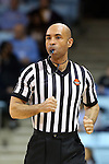 02 January 2014: Referee Jules Gallien. The University of North Carolina Tar Heels played the James Madison University Dukes in an NCAA Division I women's basketball game at Carmichael Arena in Chapel Hill, North Carolina.