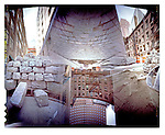 pinhole image of Belgian block street construction in lower manhattan