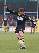 Nick Robinson of London Wasps RFC converts the opening try - London Wasps RFC vs Saracens RFC - Aviva Premiership Rugby at Adams Park, Wycombe Wanderers FC - 12/02/12 - MANDATORY CREDIT: Ray Lawrence/TGSPHOTO - Self billing applies where appropriate - 0845 094 6026 - contact@tgsphoto.co.uk - NO UNPAID USE.