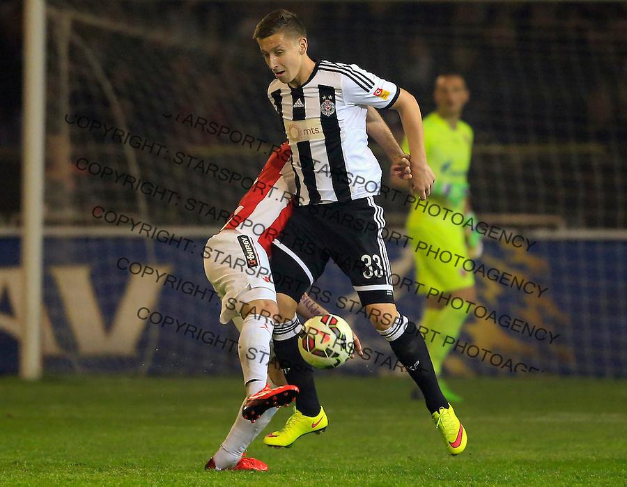 Fudbal Jelen Super League season 2014-2015 Derby Derbi<br /> Crvena Zvezda v Partizan<br /> Ivan Saponjic (R)<br /> Beograd, 25.04.2015.<br /> foto: Srdjan Stevanovic/Starsportphoto&copy;