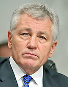 Washington, DC - April 8, 2008 -- United States Senator Chuck Hagel (Republican of Nebraska) listens as General David Petraeus and Ambassador Ryan Crocker testify before the United States Senate Foreign Relations Committee on the situation and progress in Iraq in Washington, D.C. on Tuesday, April 8, 2008..Credit: Ron Sachs / CNP