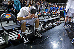 24 MAR 2012:  John Allen (20) of Western Washington University sits on the bench and cries after the game against the University of Montevallo during the Division II Men's Basketball Championship held at the Bank of Kentucky Center in Highland Heights, KY. Western Washington won the national title 72-65.  Joe Robbins/NCAA Photos