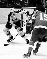 California Golden Seals vs. Detroit Redwings<br />Seals #4 Paul Shakes (1973-74 photo by Ron Riesterer)