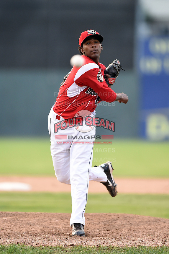 Batavia Muckdogs pitcher Jose Adames (49) delivers a pitch during a game against the Jamestown Jammers on July 7, 2014 at Dwyer Stadium in Batavia, New York.  Batavia defeated Jamestown 9-2.  (Mike Janes/Four Seam Images)