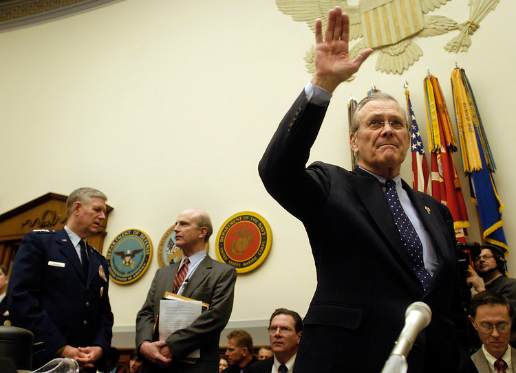 Defense Secretary Donald Rumsfeld and Gen. Richard Myers, chairman, Joint Chiefs of Staff, testified today at a the House Armed Services Committee hearing on the FY2006 budget request for the Defense Department. .