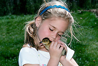 Young girl kisses her Easter duckling  affectionately and gently on the back of the neck