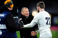 England Rugby Head Coach Eddie Jones speaks to Elliot Daly after the match. RBS Six Nations match between England and Ireland on February 27, 2016 at Twickenham Stadium in London, England. Photo by: Patrick Khachfe / Onside Images