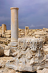 Travel stock photo of Ancient column capital with decorative ornament at Roman Agora The Archaeological Site of Kourion near Limassol in Cyprus Spring 2007 Vertical