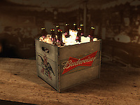 The final design for the period budweiser crate. This prop took more time to work out than anything else.