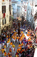 Gubbio 15 MAY 2004..Festival of the Ceri..The Ceri  in Via dei Consoli....http://www.ceri.it/ceri_eng/index.htm..