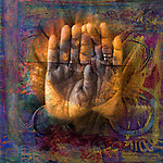 Gilded hands in open palm mudra. Photo based illustration.<br />