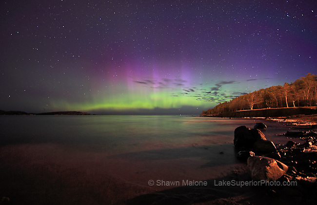 aurora borealis northern lights over Lake Superior, Presque Isle Marquette MI. Featured in Nat Geo Daily News 04/14/11, National Geographic home page 1st image April 15,2011, WGN,Tom Skilling 0/12/2011