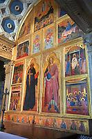 Icons on the medieval altar of San Miniato al Monte (St. Minias on the Mountain) basilica , Florence, Italy.