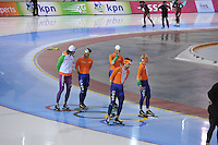 SCHAATSEN: SALT LAKE CITY: Utah Olympic Oval, 14-11-2013, Essent ISU World Cup, training,  Gerard van Velde (trainer/coach Team Beslist.nl), Jesper Hospes (NED), Michel Mulder (NED), Mark Tuitert (NED), Sjoerd de Vries (NED), ©foto Martin de Jong