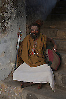 Sadus at Pashupatinath Cremation and Temple Area in Kathmadu, Nepa