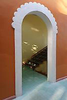 Spanish colonial style archway, Hotel Hacienda Uxmal near the Mayan ruins of Uxmal, Yucatan, Mexico.