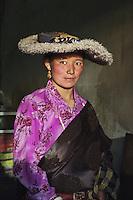 Tibetan woman in hat, 2006