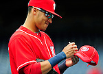25 April 2010: Washington Nationals' shortstop Ian Desmond signs autographs prior to a game against the Los Angeles Dodgers at Nationals Park in Washington, DC. The Nationals shut out the Dodgers 1-0 to take the rubber match of their 3-game series. Mandatory Credit: Ed Wolfstein Photo