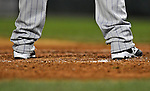 16 August 2008: Colorado Rockies' starting pitcher Livan Hernandez' cleats are featured as he stands in the batter's box during a game against the Washington Nationals at Nationals Park in Washington, DC.  The Rockies defeated the Nationals 13-6, handing the last place Nationals their 9th consecutive loss. ..Mandatory Photo Credit: Ed Wolfstein Photo