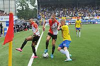 VOETBAL: LEEUWARDEN: 16-08-2015, SC Cambuur - Feyenoord, uitslag 0-2, Rick Karsdorp (#26), Sjoerd Overgoor (#8), Bilal Basacikoglu (#14), ©foto Martin de Jong