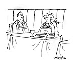 (Dinner table is marked as reserved. It's two occupants are marked taciturn and reticent)