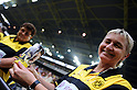 Dortmund fans,AUGUST 5, 2011 - Football / Soccer :A Dortmund fan poses with a beer glass illustrated Shinji Kagawa of Dortmund before the Bundesliga match between Borussia Dortmund 3-1 Hamburger SV at Signal Iduna Park in Dortmund, Germany. (Photo by AFLO)