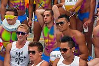 LA Pride 2011, Muscle Men,  Woman, Tassels, Participants, Group Photo
