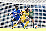 30 August 2013: Kennesaw State's Ivani Hughes (23) and Duke's Tabria Williford (29). The Duke University Blue Devils played the Kennesaw State University Owls at Fetzer Field in Chapel Hill, NC in a 2013 NCAA Division I Women's Soccer match. Duke won 1-0.