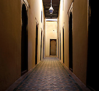 Corridor, Bou Inania Madrasa, Meknes, Morocco, pictured on December 26, 2009, founded in 1350 by Abu Inan Faris, Marinid ruler, a fine example of Islamic architecture. Meknes, one of Morocco's Imperial cities, was redeveloped under Sultan Ismail Moulay (1634-1727). It is a fortified city built from pise, or clay and straw, and was designed to be the political capital of Morocco, as opposed to Fez, the religious capital. Picture by Manuel Cohen