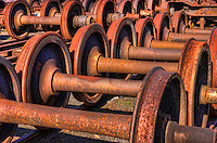 Rusted railroad car wheelsets at the Steamtown National Historic Site in Scranton, Pennsylvania