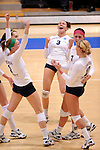 03 DEC 2011:  Kayla Koenecke (3) of Concordia University St. Paul and her teammates celebrate a point against Cal State San Bernardino during the Division II Women's Volleyball Championship held at Coussoulis Arena on the Cal State San Bernardino campus in San Bernardino, Ca. Concordia St. Paul defeated Cal State San Bernardino 3-0 to win the national title. Matt Brown/ NCAA Photos