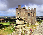 Carn Brae, Redruth, Cornwall, England. Celtic Britain published by Orion. Carn Brae prehistoric site covers 46 acres where over two hundred people lived before their community was attacked and burnt down. The castle is medieval abnd was probably built by the Basset family and used as a chapel.
