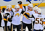20 December 2008: The Buffalo Sabres celebrate scoring a third period goal against the Montreal Canadiens at the Bell Centre in Montreal, Quebec, Canada. With both teams coming off wins, the Canadiens extended their winning streak by defeating the Sabres 4-3 in overtime. ***** Editorial Sales Only ***** Mandatory Photo Credit: Ed Wolfstein Photo