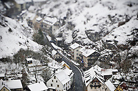 snow covered houses during winter storm, Pottenstein, Franconia, Bavaria, Germany