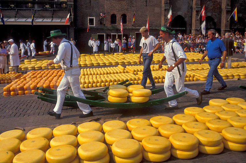 AJ2176, cheese market, Alkmaar, Netherlands, Europe, Costumed porters carrying wheels of cheese (Gouda and red-skinned Edam) on a sledge at the weekly Cheese Market on the Waagplein in Alkmaar.