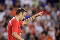 Dimitar Berbatov (9) of Manchester United celebrates scoring. Manchester United defeated the MLS All-Stars 4-0 during the MLS ALL-Star game at Red Bull Arena in Harrison, NJ, on July 27, 2011.